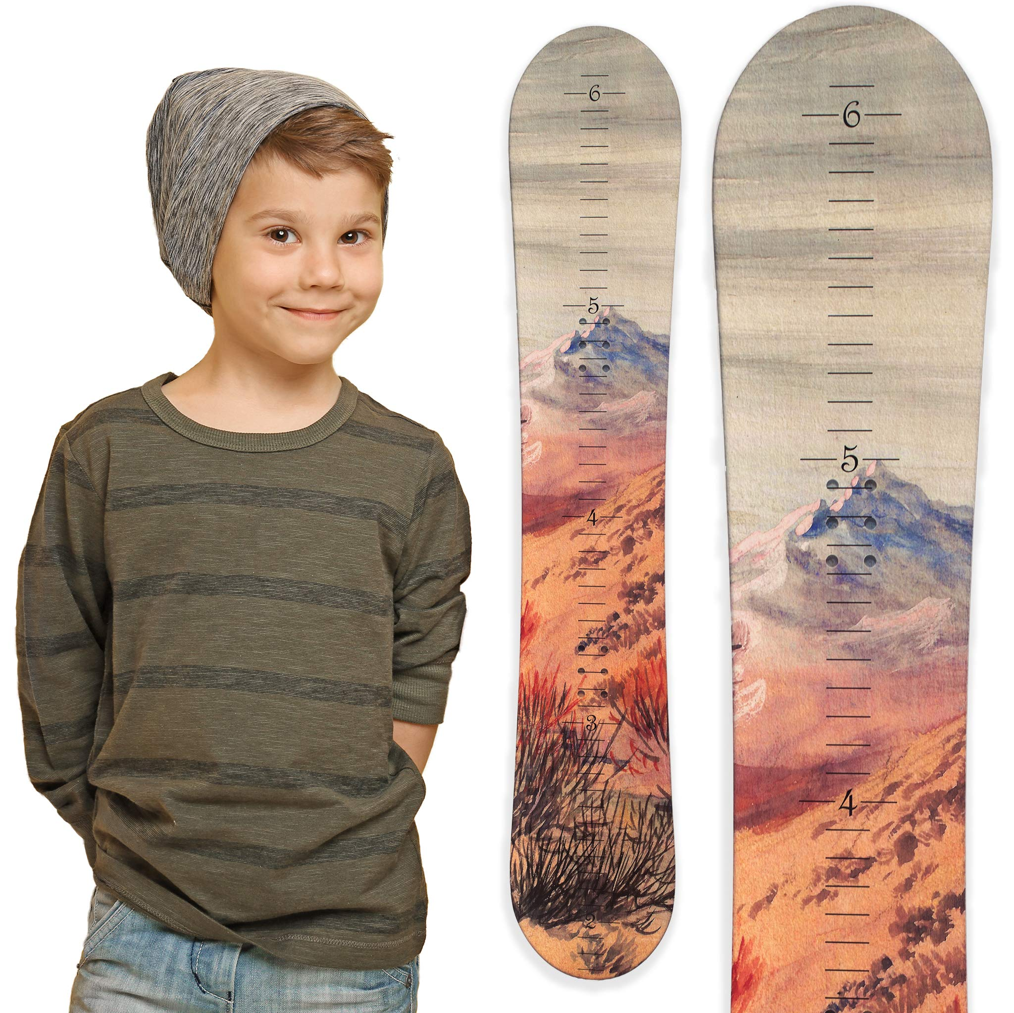 Growth Chart Art   Wooden Snowboard Height Chart for Kids, Boys, Girls for Measuring Height of Kids, Nursery Wall Decor   Baby Snowboard   Mountain by Growth Chart Art