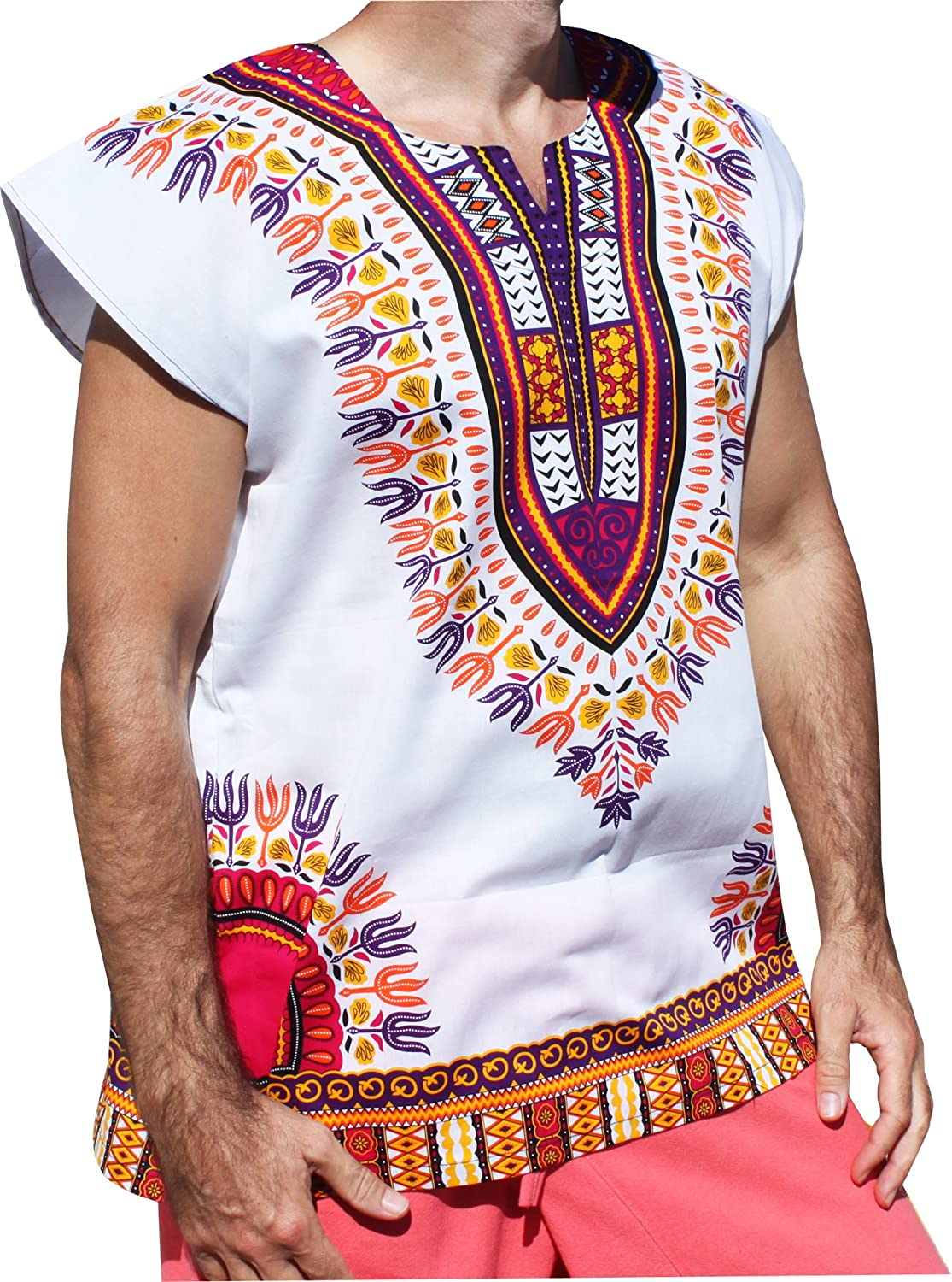 RaanPahMuang Unisex Bright Cotton Africa Dashiki Afrikan Sleeveless Cap Shirt Plus variant2149