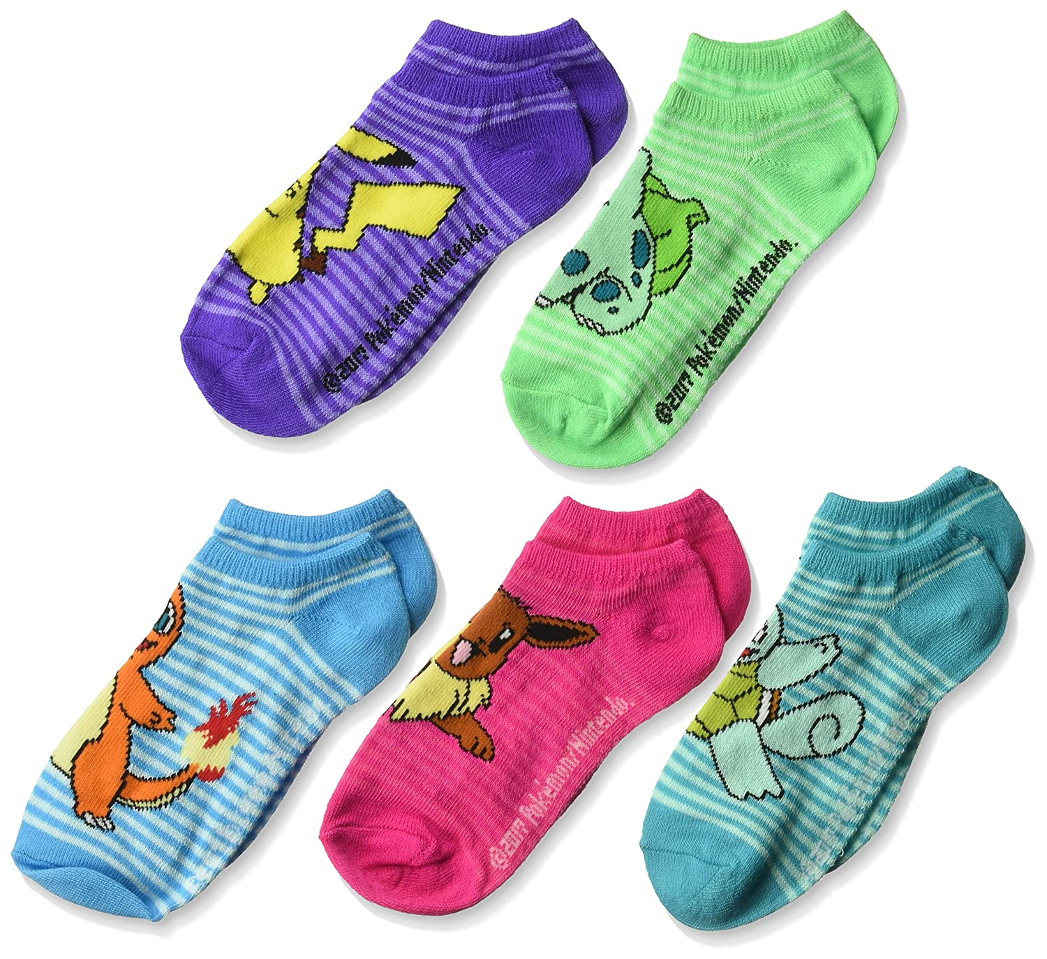 Pokémon girls Little Girls Pokemon 5 Pack No Show Socks E80257