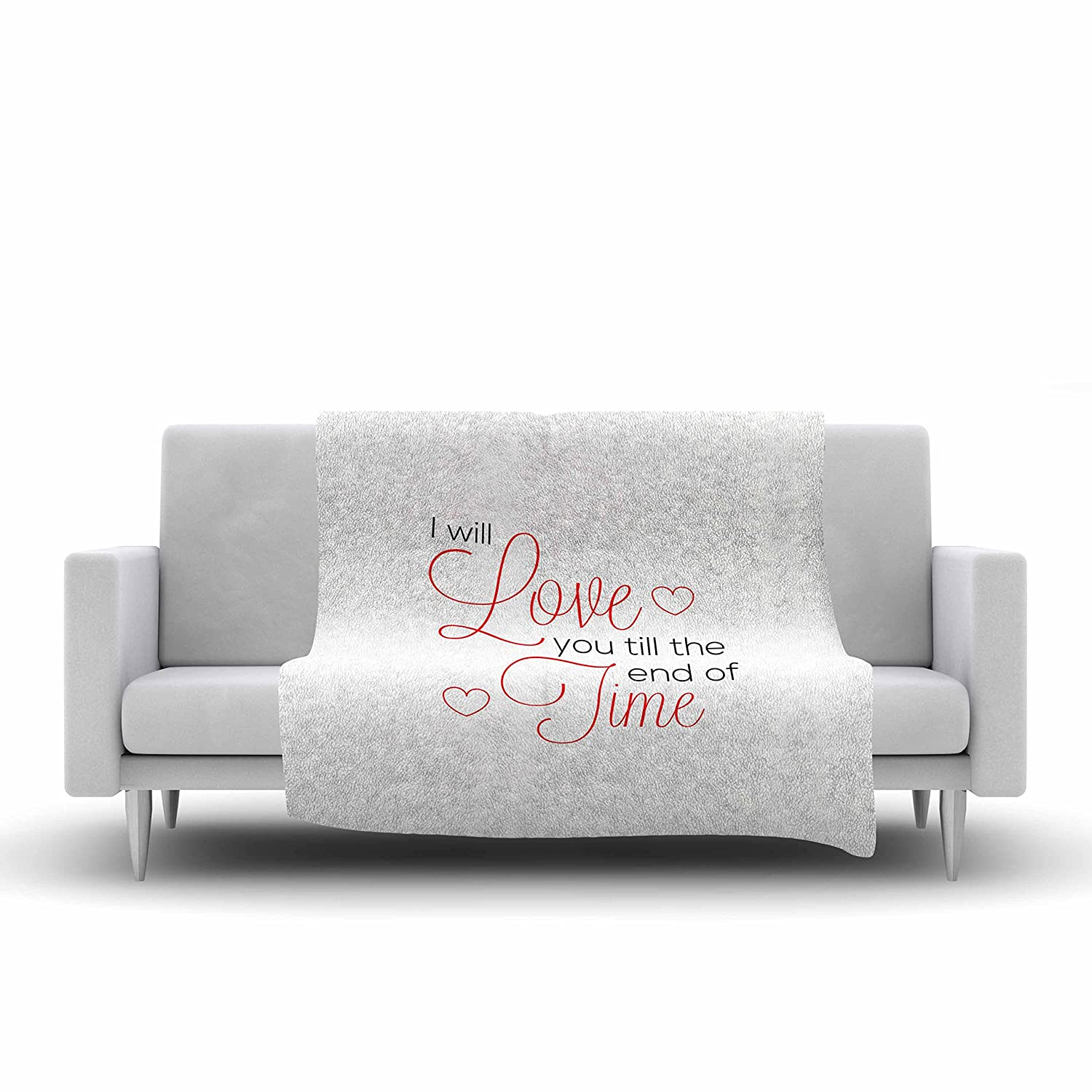 40 X 30 Kess InHouse NL Designs I Will Love You White Red Fleece Throw Blanket 40 by 30-Inch