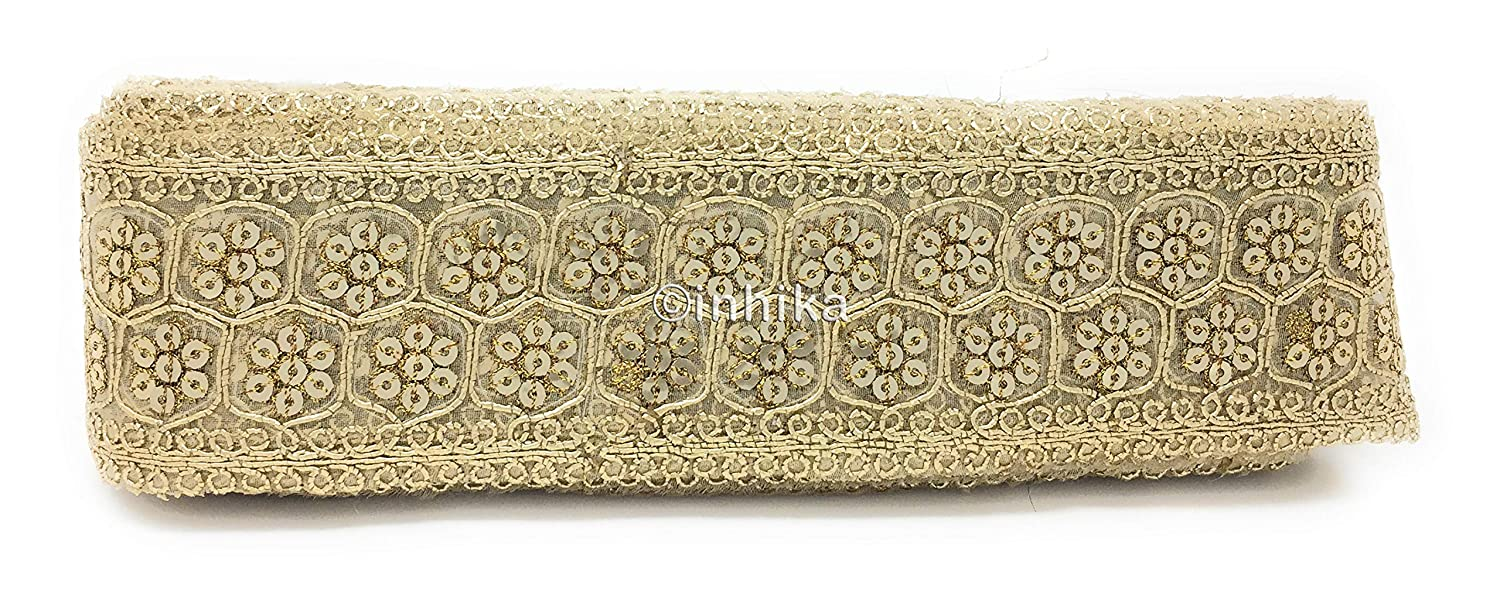 Sequins Inhika 9 Yard lace Border Trim for Women Saree Dupatta Light Gold Colour Light Gold Embroidery Tissue Material Medium Width at 6 cm Wide