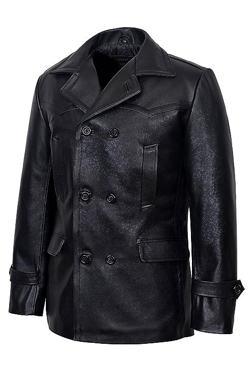 Smart Range Mens Kriegsmarine German Ww2 Dr Who Reefer Hide Leather Jacket Coat at Amazon Mens Clothing store: