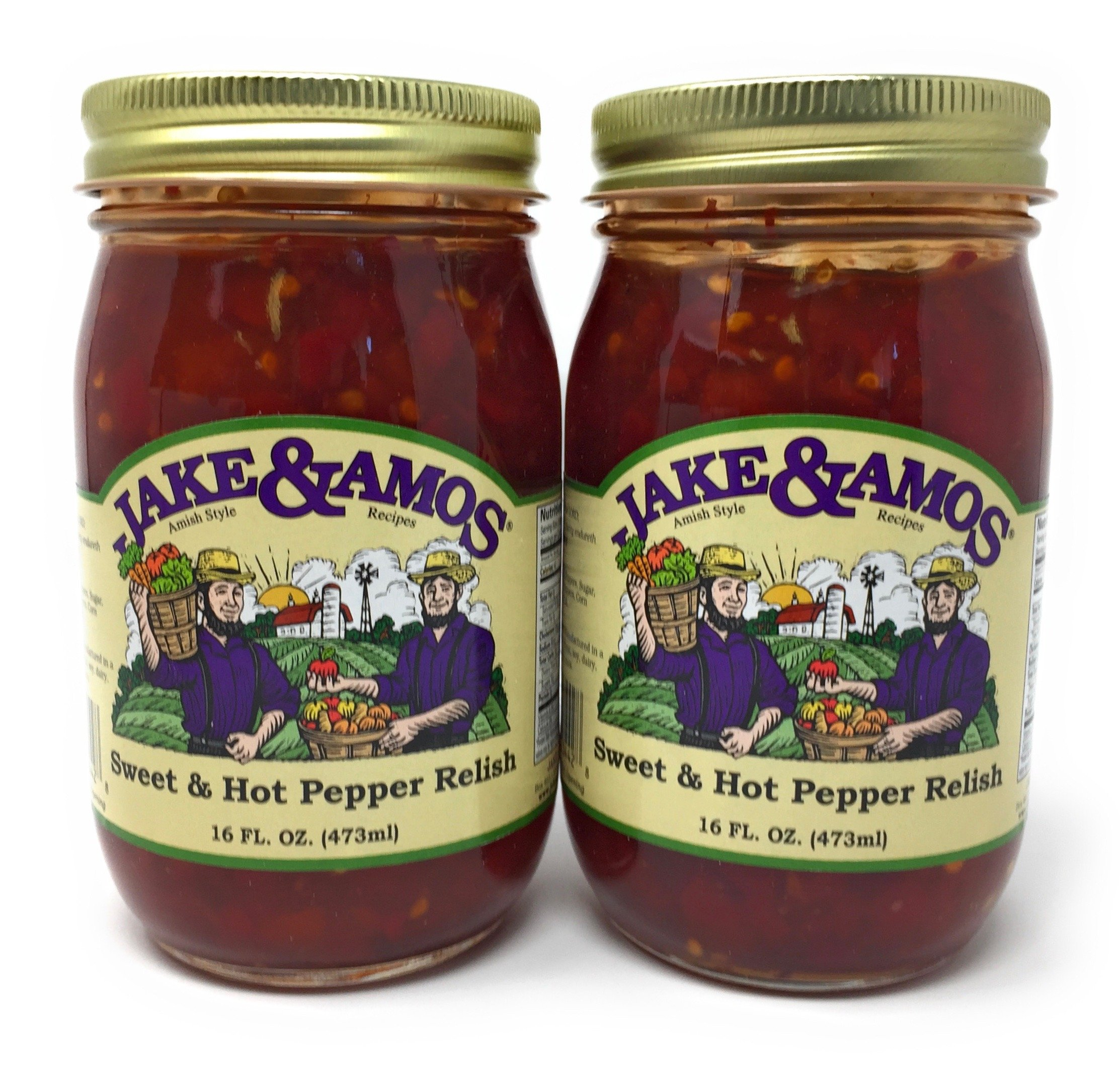 Jake & Amos Sweet & Hot Pepper Relish / 2 - 16 Oz. Jars