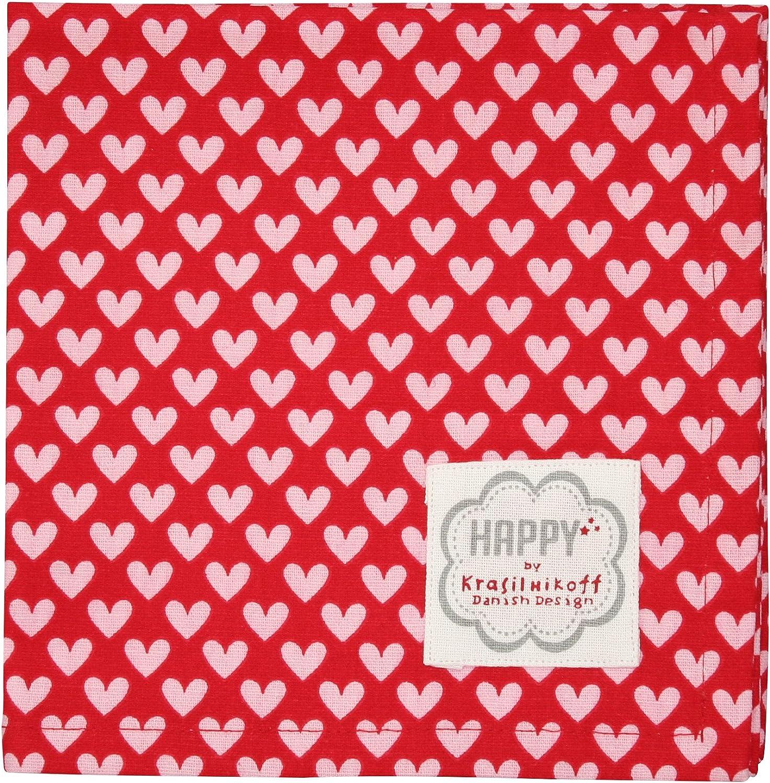 Krasilnikoff Stoffserviette rot mit rosa Herzen Serviette Baumwolle
