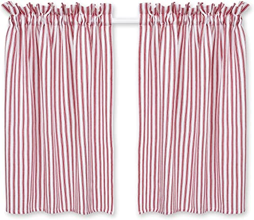 Cackleberry Home Red and White Ticking Stripe Cafe Curtains 28 Inches W x 36 Inches L Woven Cotton, Set of 2