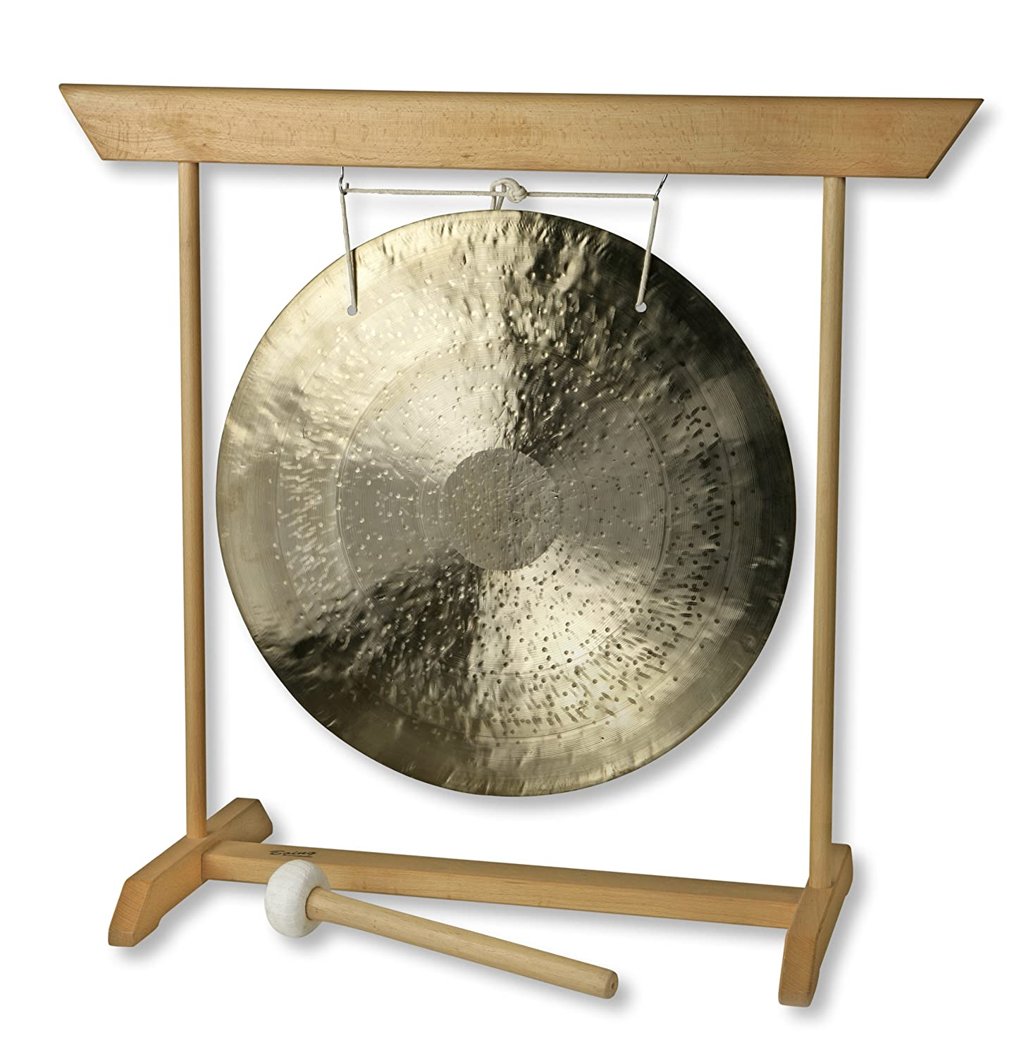 Gong /Ø 55 cm with wooden stand beech and bobbin