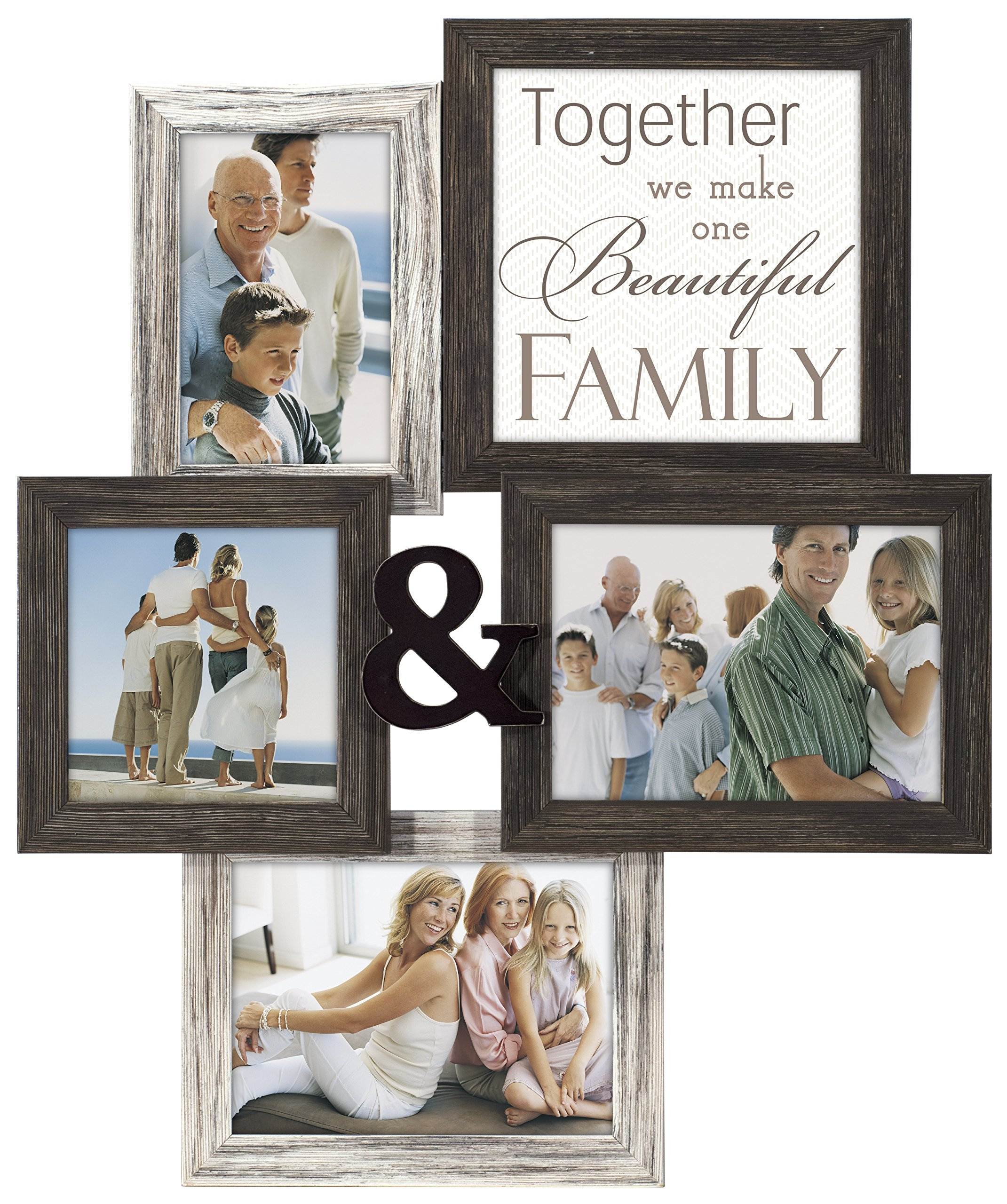 Malden International Designs Wall Sentiments Together We Make One Beautiful Family with Ampersand Collage Frame, 4 Option, 1-4x6 & 1-5x5 & 2-5x7, Black by Malden International Designs