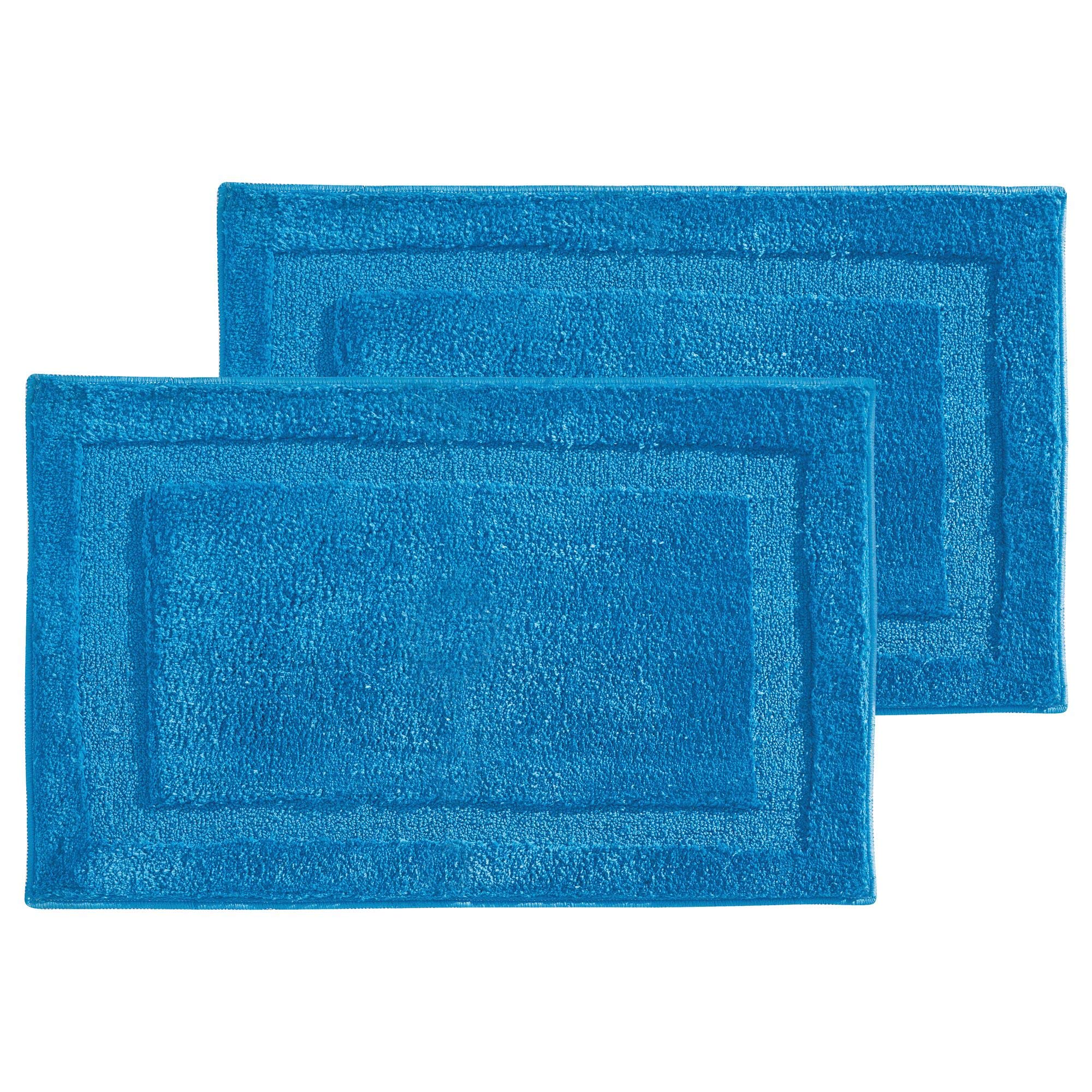 mDesign Soft Microfiber Polyester Non-Slip Rectangular Spa Mat, Plush Water Absorbent Accent Rug for Bathroom Vanity, Bathtub/Shower, Machine Washable - 34'' x 21'' - Pack of 2, Azure Blue