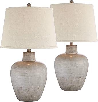 Glenn - Juego de 2 lámparas de mesa de estilo rústico con urna del ...