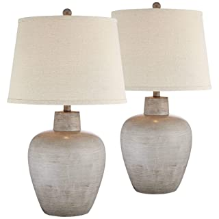 Glenn Rustic Country Cottage Table Lamps Set of 2 Southwest Urn Neutral Fabric Drum Shade for Living Room Bedroom Bedside Nightstand - Regency Hill