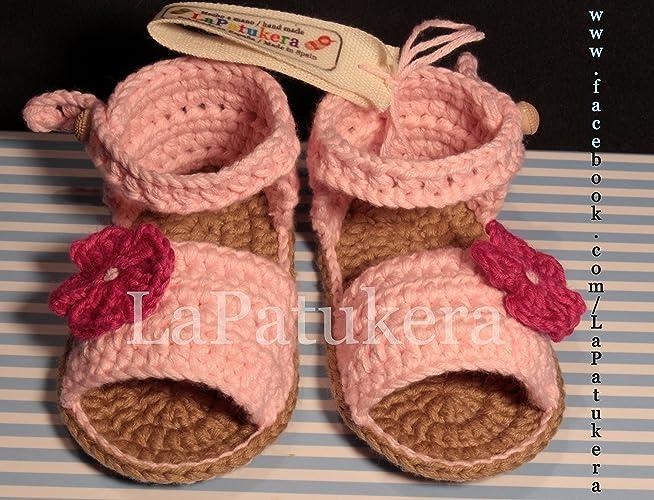 Patucos Sandalias modelo Menorquina para bebé de crochet, de color ...