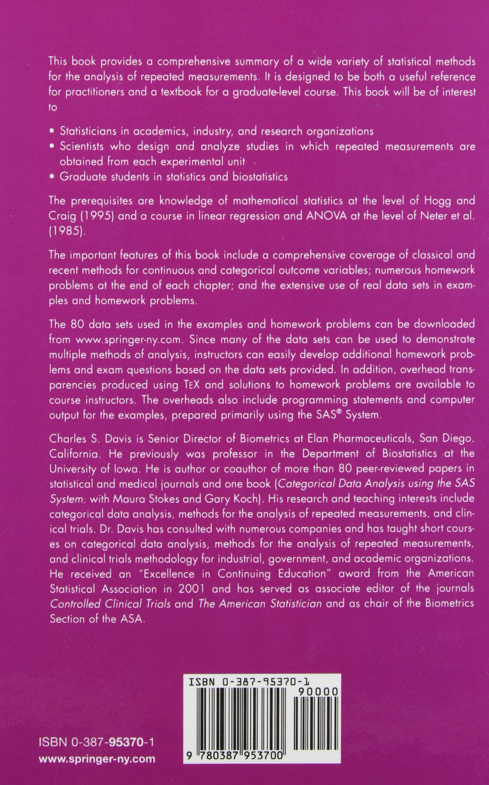 Buy Statistical Methods for the Analysis of Repeated Measurements (Springer  Texts in Statistics) Book Online at Low Prices in India | Statistical  Methods ...