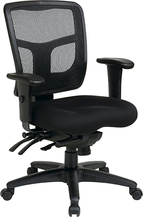 Office Star Mid Back ProGrid Back FreeFlex Seat with Adjustable Arms and Multi-Function and Seat Slider, Black Managers Chair