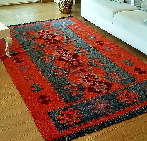 Secret Sea Collection Modern Bohemian Style Area Rug, 5 x 8 ft, 60 x 100 , Cotton, Washable, Reversible Charcoal Grey-Orange