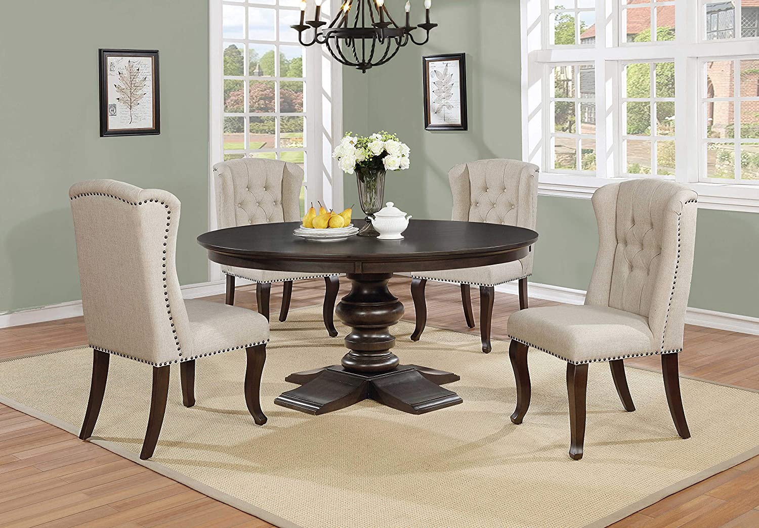 Best Quality Furniture Dining Round Table Single Wood, Cappuccino