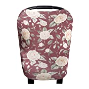 Baby Car Seat Cover Canopy and Nursing Cover Multi-Use Stretchy 5 in 1 Gift Scarlet  by Copper Pearl