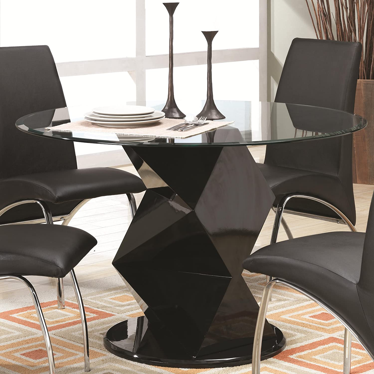Amazon Ophelia Zig Zag Black Round Glass Top Dining Table