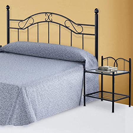 HomeSouth - Mesita de Noche, Mesa Dormitorio, Acabado en forja, Modelo Cynthia, Medidas: 46 cm (Ancho) x 60 cm (Alto) x 35 cm (Fondo)