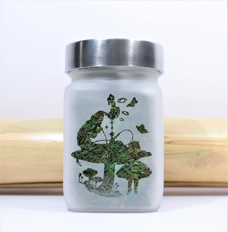 Alice in Wonderland Hookah Smoking Caterpillar Stash Jar - Weed Accessories, Stoner Gear & Stash Jars by Twisted420Glass T420G