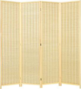 Giantex 4 Panel 6 Ft Tall Bamboo Room Divider, Folding Privacy Screen, Room Separators Divider Wall, Portable Freestanding Partition Divider Room Panel for Living Room Bedroom Office (Natural)