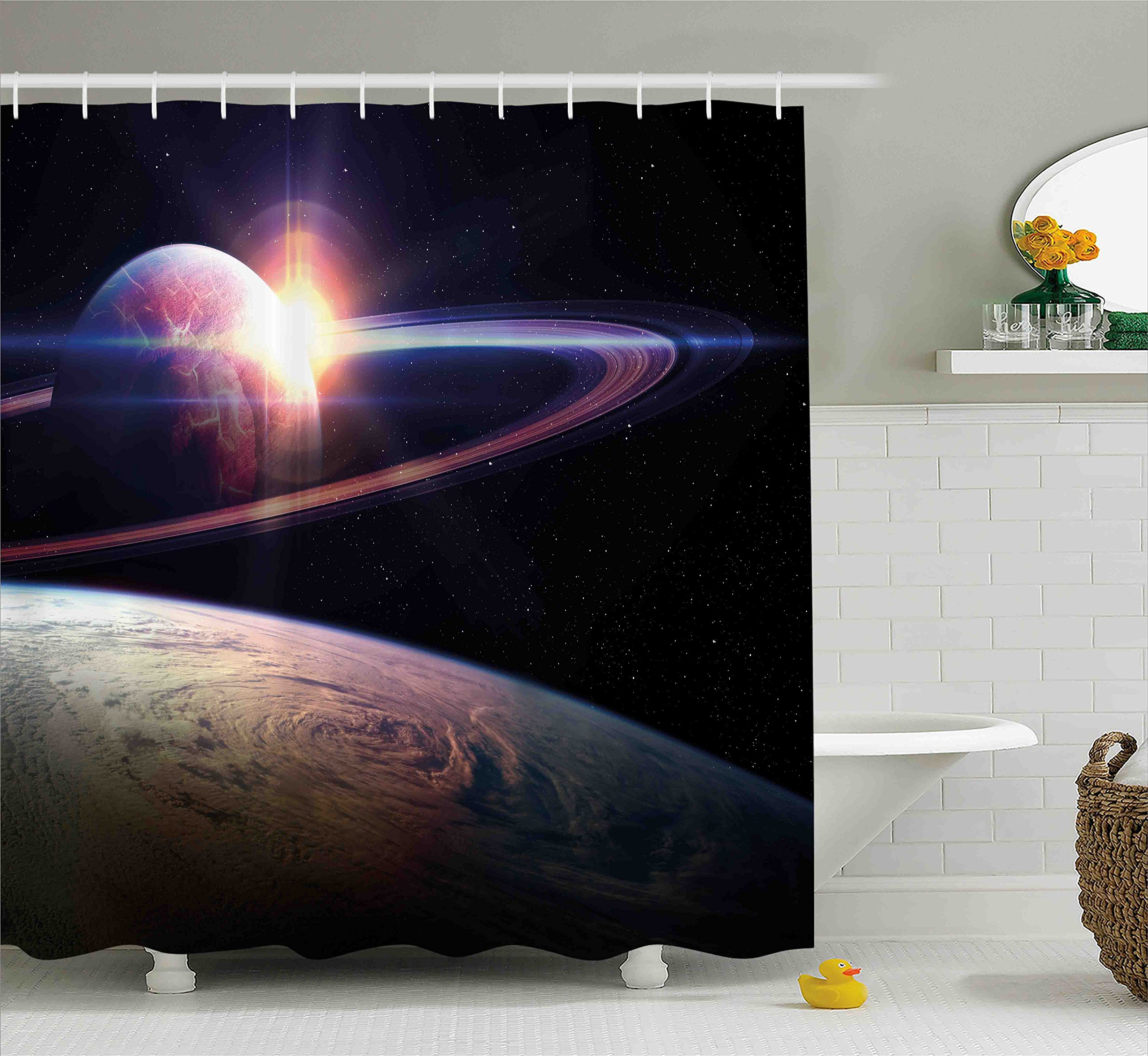 Ambesonne Galaxy Shower Curtain Set, Sunset in Outer Space Universe Saturn View from Planet Earth Atmosphere in Spaceship, Fabric Bathroom Decor with Hooks, 75 Inches Long, Black Blue