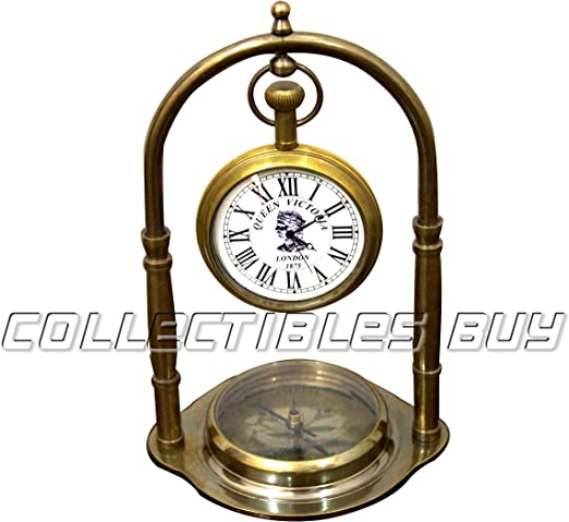Nautical Antique Maritime Brass Compass with Clock Vintage Marine Desk Decor