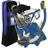 U.S. Divers Lux Platinum Snorkeling Set -  Panoramic View Mask, Pivot Fins, GoPro Ready Dry Top Snorkel + Gear Bag
