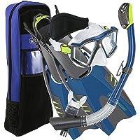 U.S. Divers Lux Platinum Conjunto de Snorkeling (Máscara con Vista Panorámica, Aletas de pivote, Snorkel con Soporte para GoPro en la Parte Superior + Bolso para Artículos)