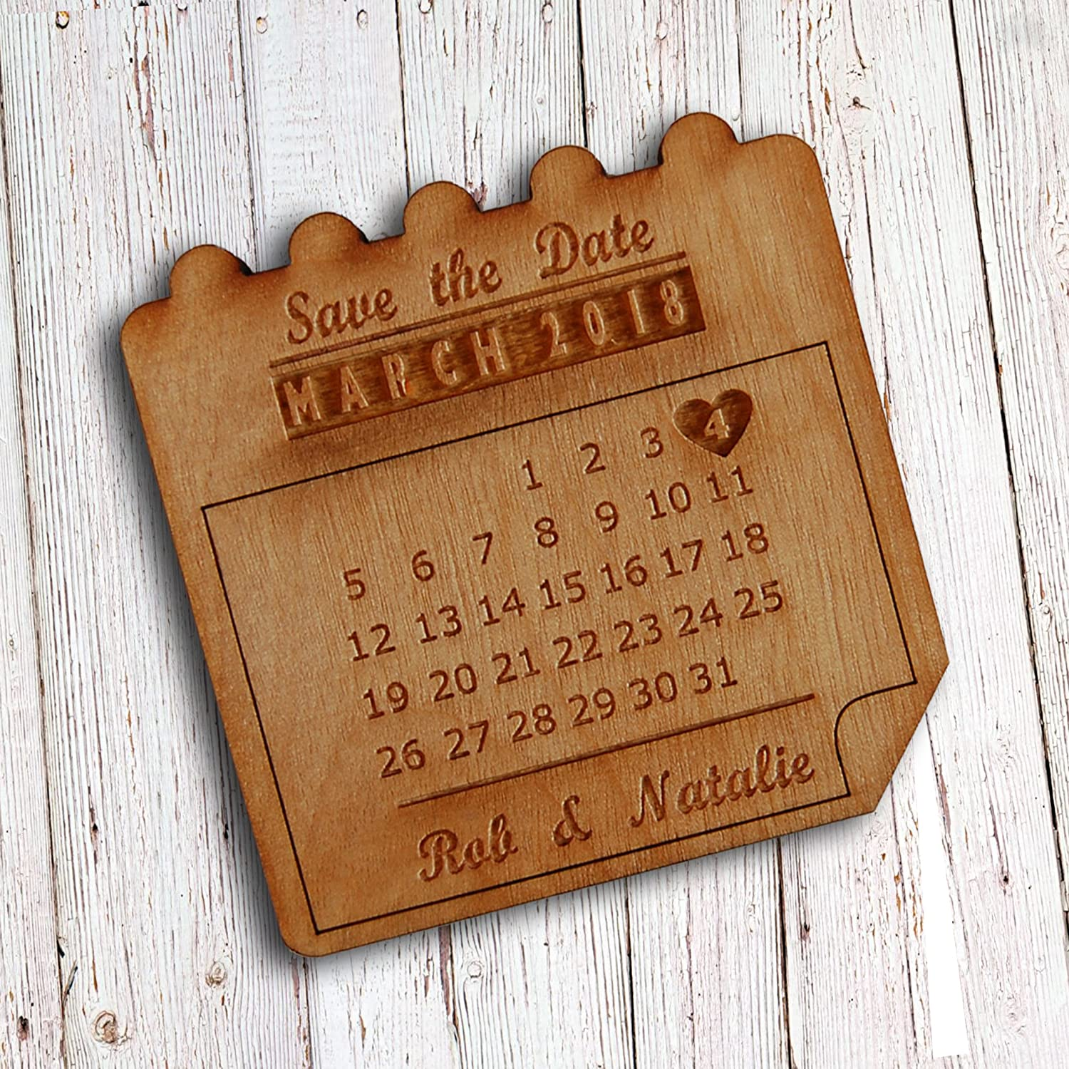 25  Pack Fancy Pants Store Personalised Wooden Save the Date Calendar Magnet (x25)
