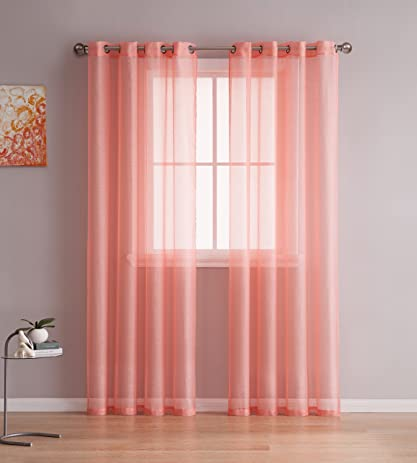 Grommet Semi Sheer Curtains   2 Pieces   Total Size 108 Inch Wide (54