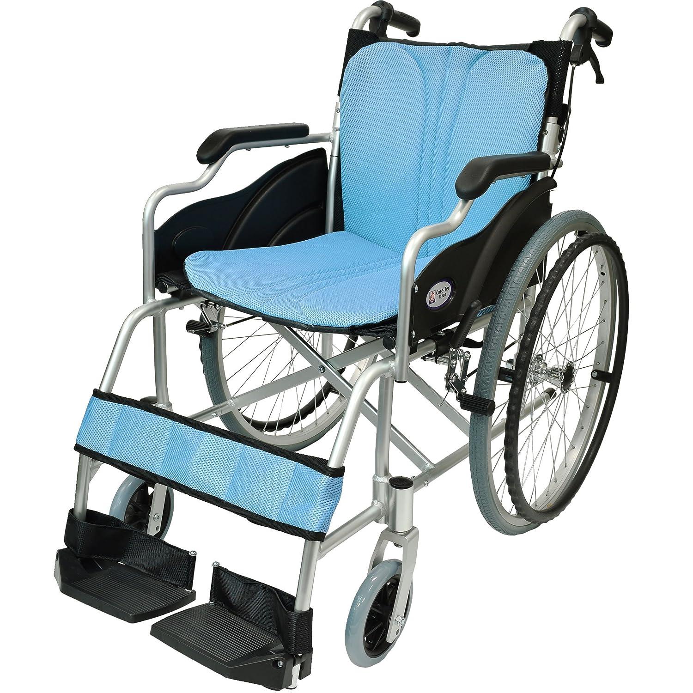 ケアテックジャパン 自走式 アルミ製 折りたたみ 車椅子 ハピネス ライトブルー CA-10SU B00S0OANQ4 05 ライトブルー(水色) 05 ライトブルー(水色)