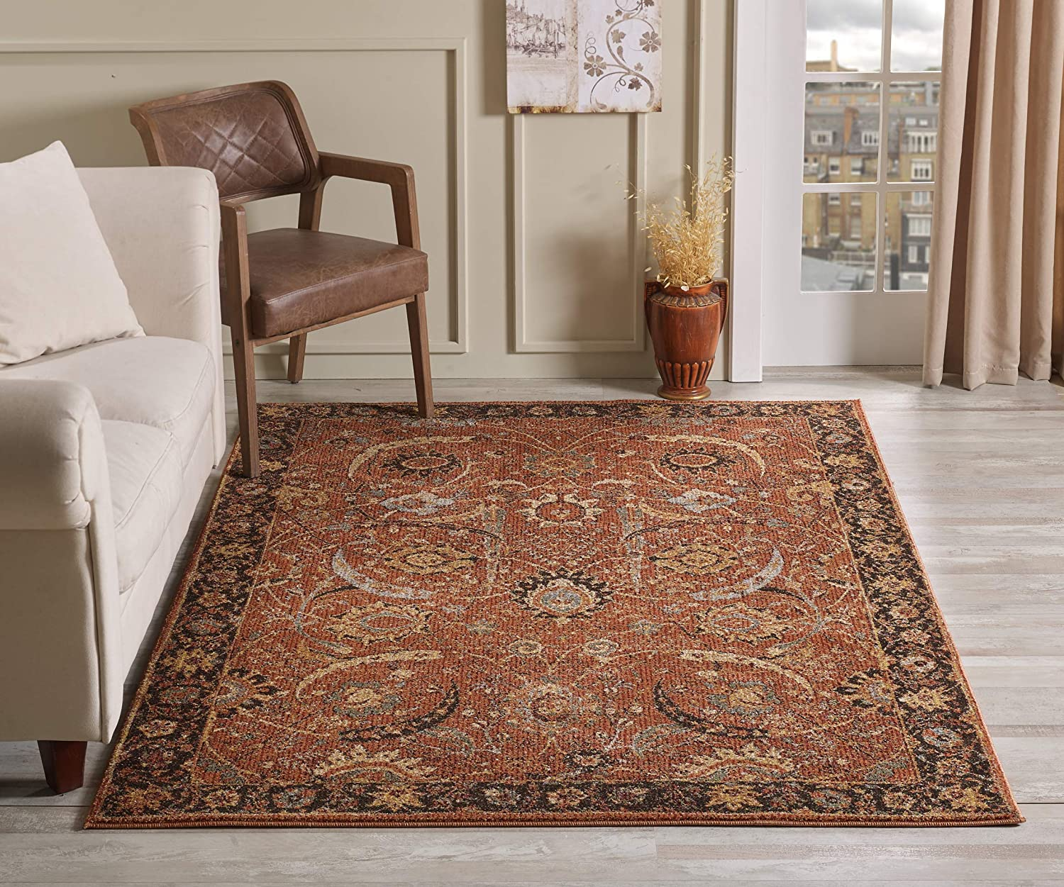 Golden Rugs Area Rug 4x6 Terra Traditional Bedroom Living room Dining  Swirls Carpet Oriental Vintage Persian Floral Texture Hand Touch Texture  6909 ...