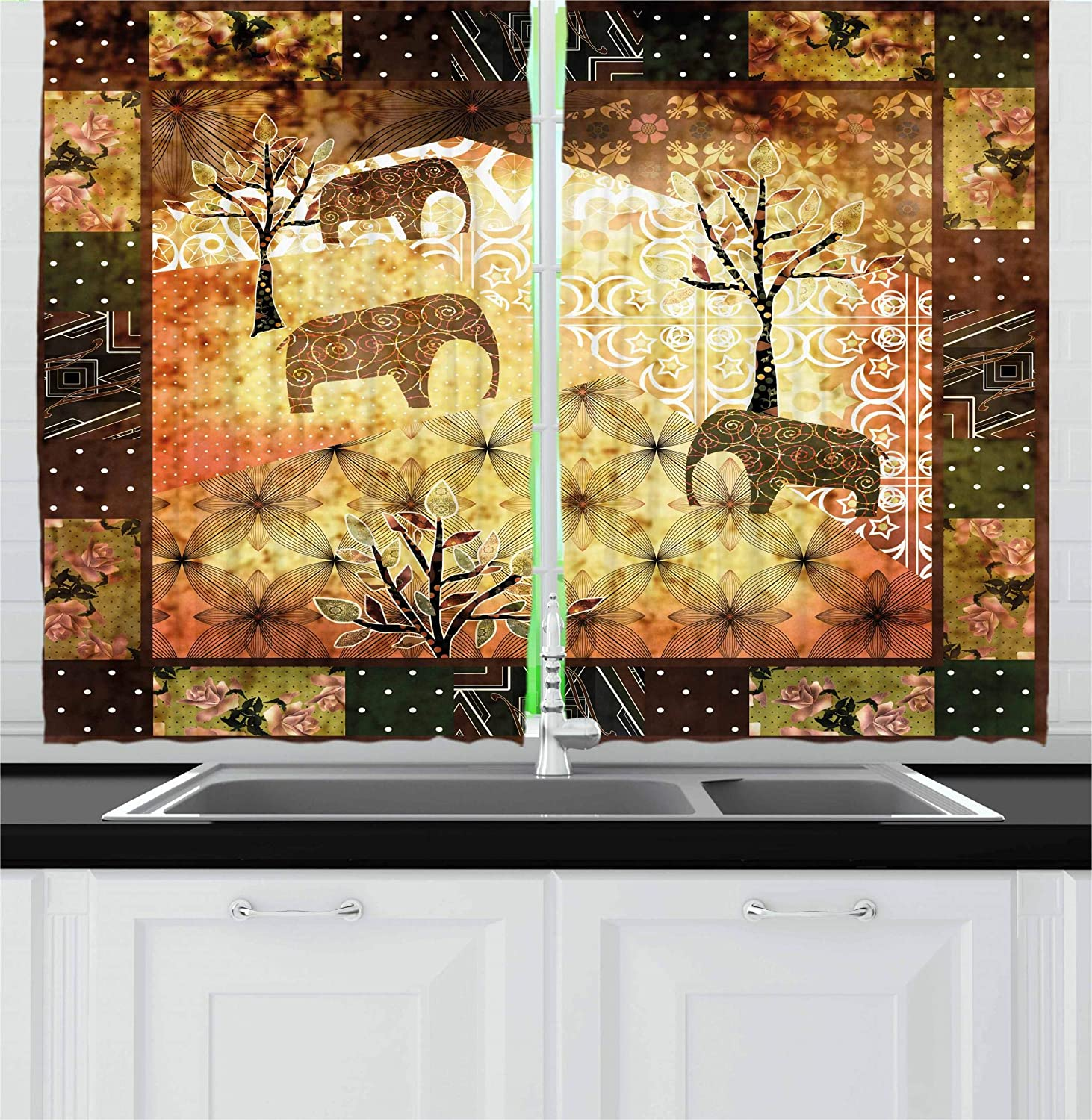 Ambesonne African Kitchen Curtains Patchwork Inspired Pattern Grunge Vintage Featured Elephants Trees Roses Print Window Drapes 2 Panel Set For Kitchen Caf鬠multi 1 55 W By 39 L Home Kitchen