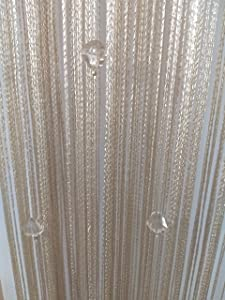 Eve Split Decorative Door String Curtain Wall Panel Fringe Window Room Divider Blind for Wedding Coffee House Restaurant Parts Crystal Tassel Screen Home Decoration (Champagne002)