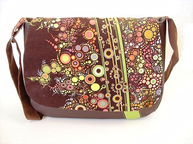 3a3b20c988 sac besace femme marron en simili cuir et tissu imprimé graphique bulles . sac  bandouliere ,