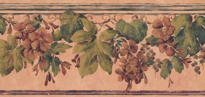York Frontera del papel pintado 9.5 por 5 yardas naranja oscuro Ginger Flores marr/ón claro Dise/ño retro del muro fronterizo,previamente empastado rollo de 15 pies x 9 pulgadas