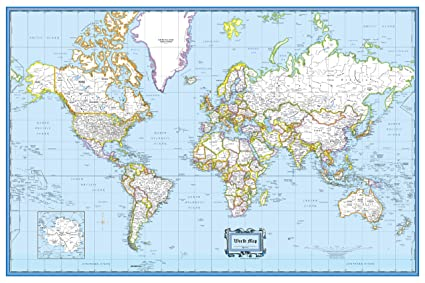 Cool Owl Maps World Wall Map Clic Blue Style - Poster Size (36