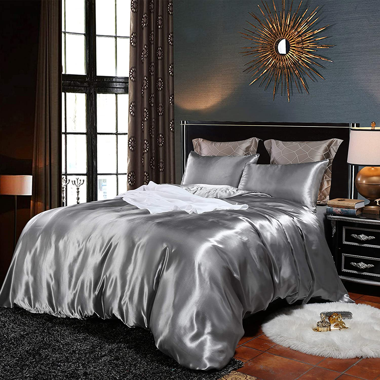 Bonhause Bedding Duvet Cover Set King Grey Silk Like Satin 3 Pieces (1 Duvet Cover + 2 Pillowcases)