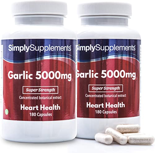 Garlic Capsules for Healthy Heart Circulation High Strength Formula Provides 5000mg per Capsule 2 x 180 Capsule Tubs