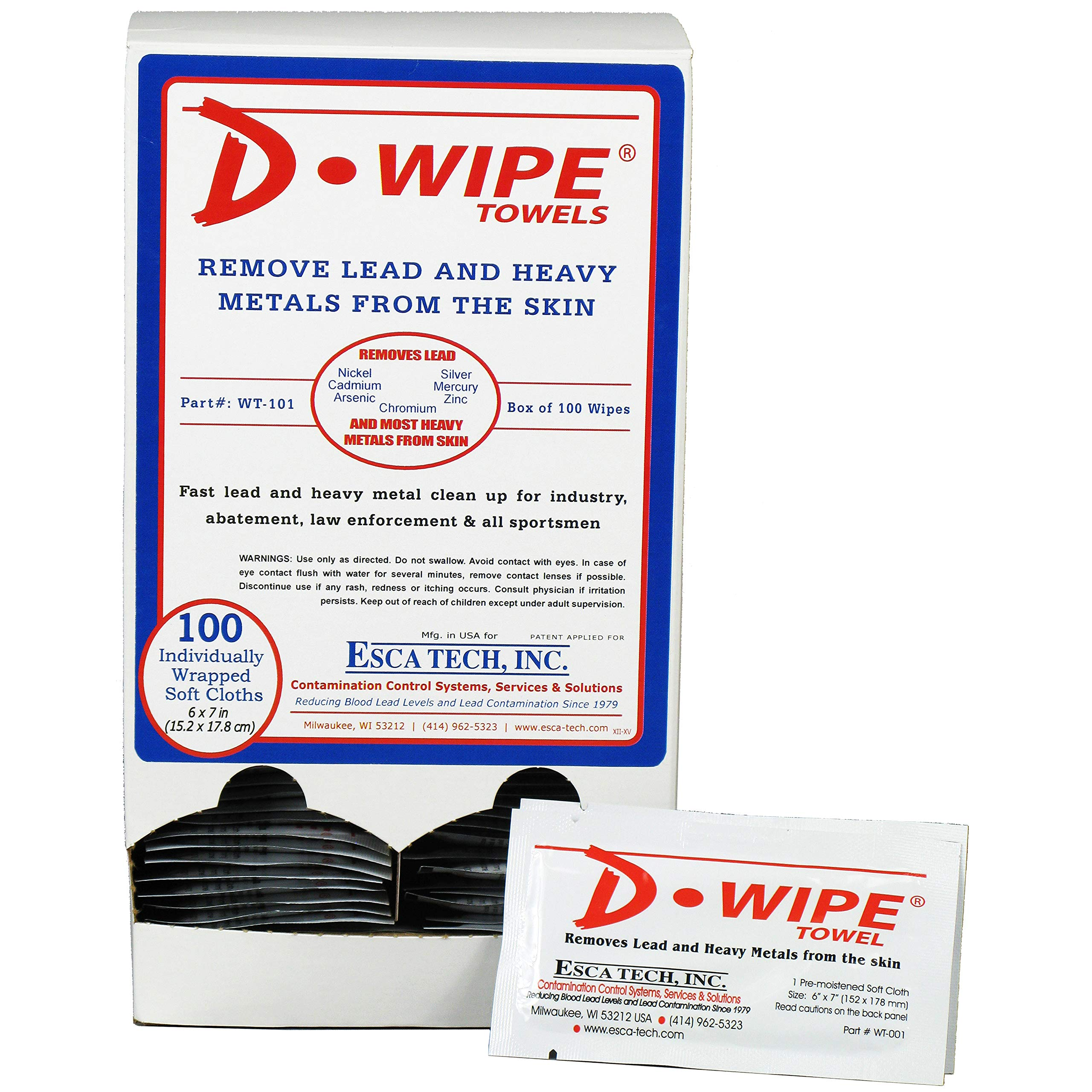 D-Wipe Towels by D-Lead, Dispenser with 100 Individually Wrapped Towels