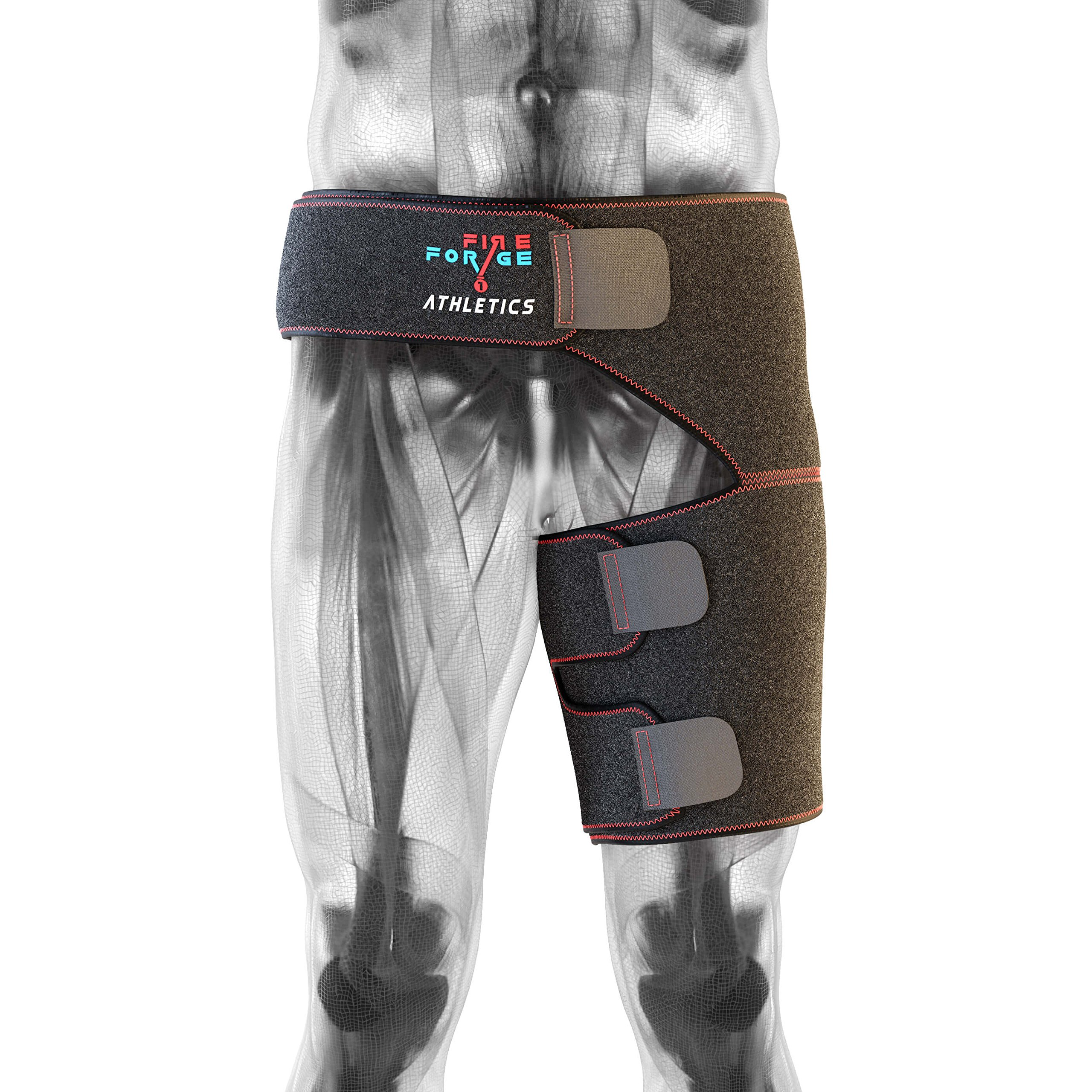 Fire Forge Athletics - Hip Brace Support and Groin Compression Wrap for Pulled Groin and Hamstring, Sciatic Nerve Pain Relief, Hip Flexor, and Arthritis; with Adjustable Leg Sleeve for Men and Women