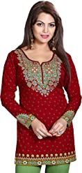 Unifiedclothes Women Fashion Printed Short Indian Kurti Tunic Kurta Top Shirt Dress 127B