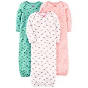 Simple Joys by Carter's Girls' 3-Pack Cotton Sleeper Gown, Pink/Mint/White, 0-3 Months