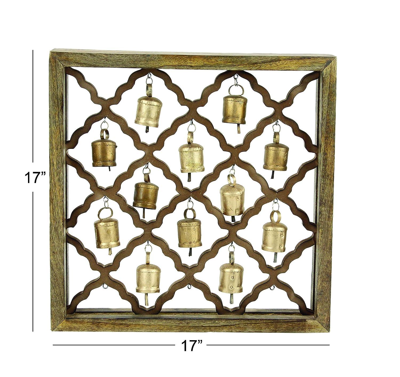 Deco 79 27364 Wooden Framed Metal Bells Wall D/écor 17 x 17 Brown//Darkbrown//Gold