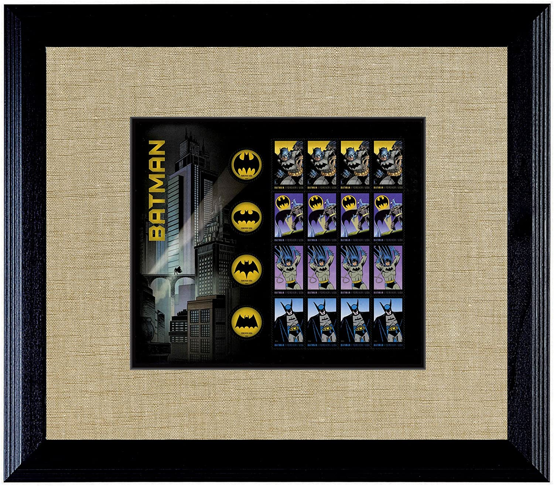 American Coin Treasures Batman U.S Stamp Sheet in 16x14 Wood Frame