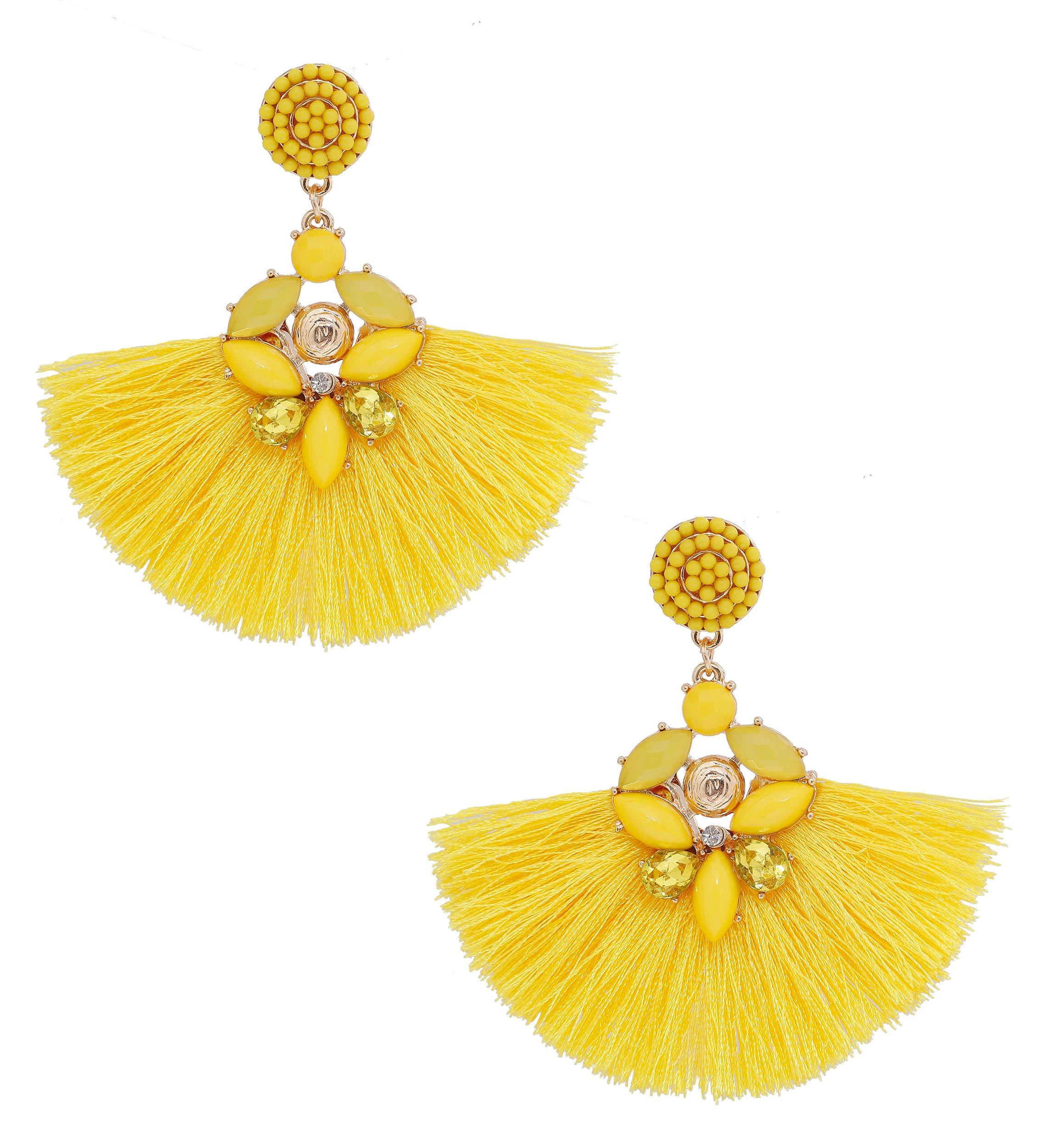 dd93fb077 ELEARD Fan Shaped Tassel Earrings Crystal Beaded Fringe Dangle Earrings  Seed Beaded Stud Statement Drop Earrings (Yellow)