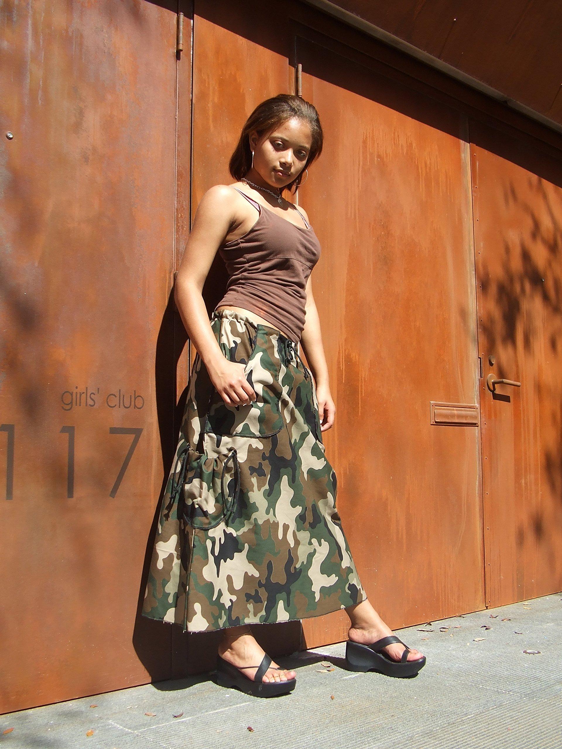 Long A-Line Camo Skirt