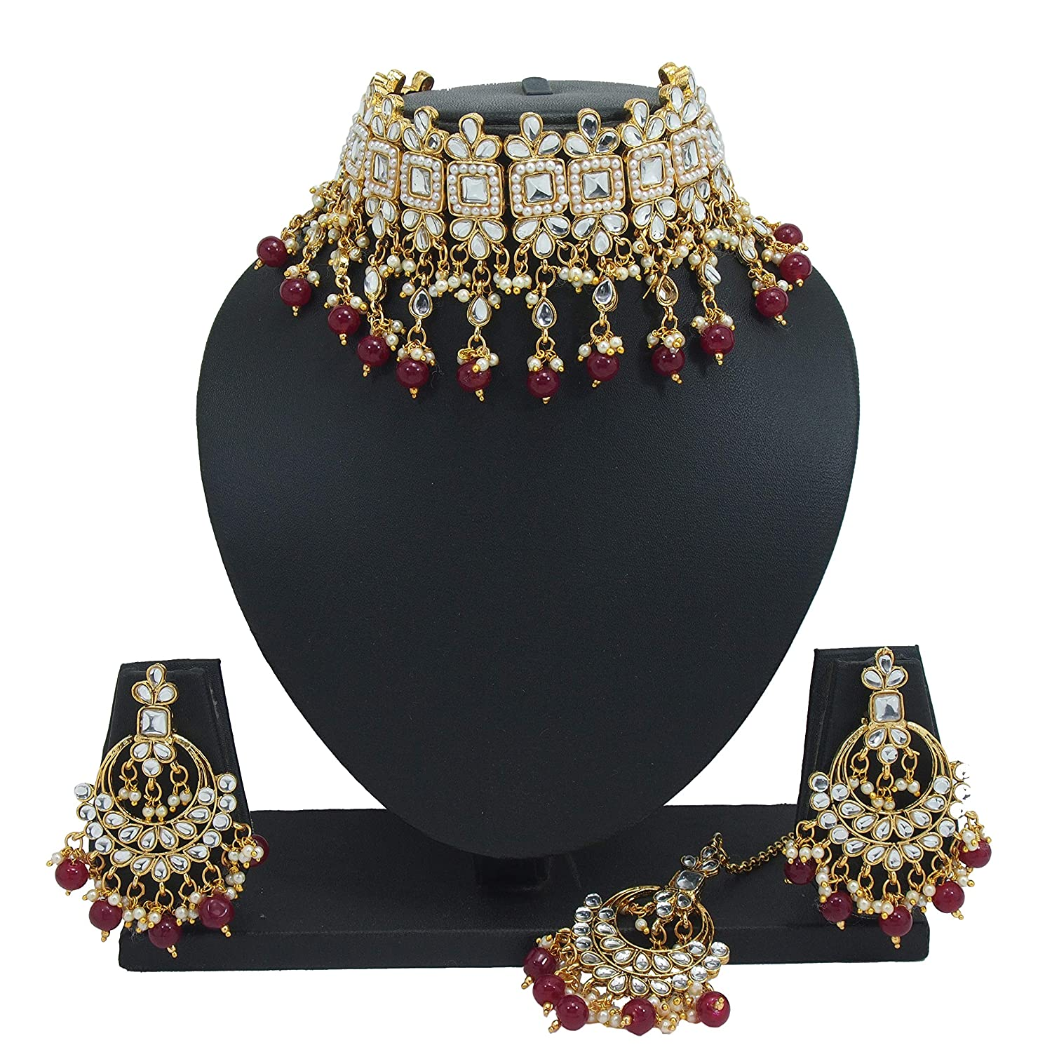 805f6d003 Buy PADMAWATI BANGLES Maroon Beads Pearl Kundan Choker Necklace Dangler  Earrings and Mang Tikka Jewelry Set for Women Online at Low Prices in India  | Amazon ...