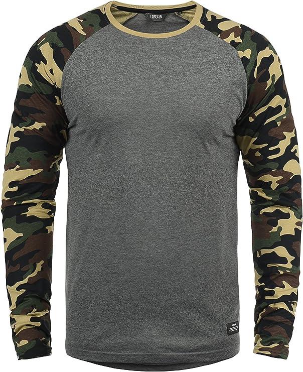 Solid Cajus Camiseta De Manga Larga Camuflaje Estilo Militar Estampada Longsleeve para Hombre con Cuello Redondo De 100% algodón: Amazon.es: Ropa y accesorios