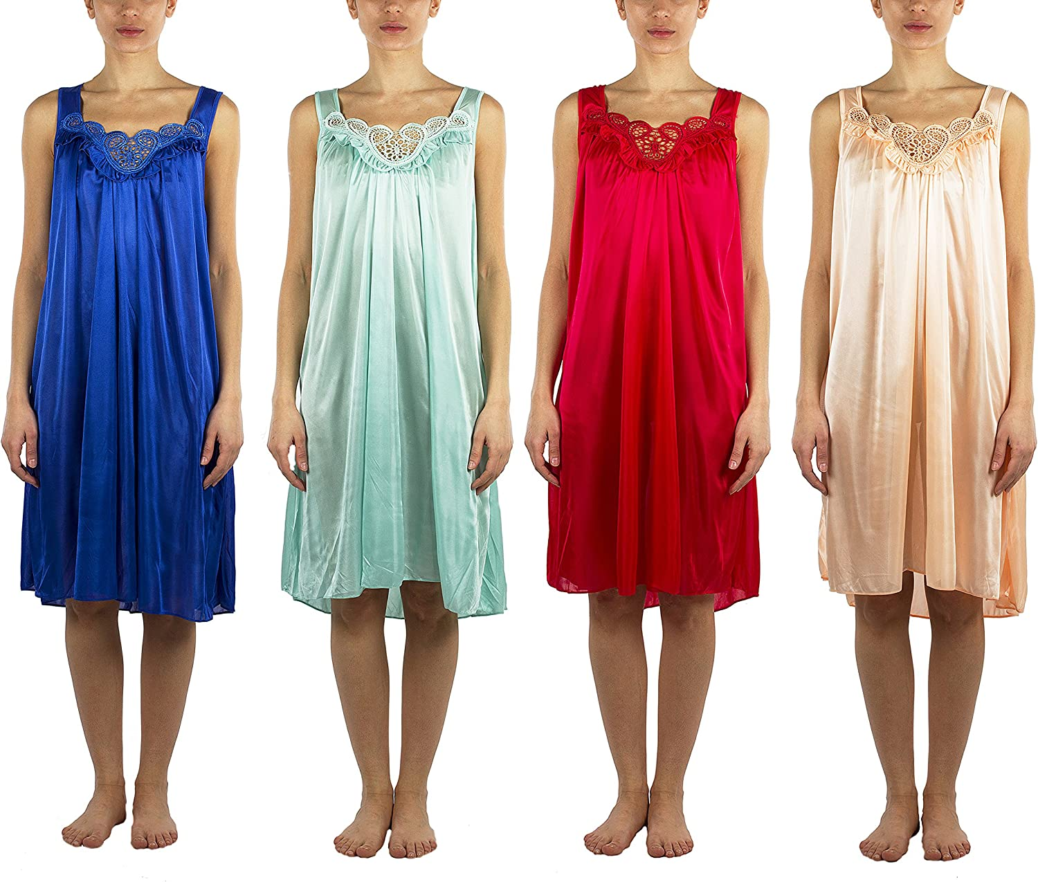 4 Pack of Silky Lace Accent San Antonio Mall Sheer Nightgowns to Dallas Mall 4X Avai Medium -